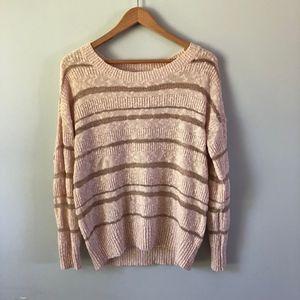 LC Lauren Conrad Pink Rose Gold Striped Sweater